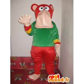 Colored hippo mascot - Costume elephant seal - Plush - MASFR00317 - Elephant mascots