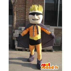 Naranja mascota Superhero y negro enmascarado - El hombre del traje - MASFR00559 - Mascotas humanas