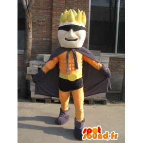 Superhero maskotti oranssi ja musta maski - Man puku - MASFR00559 - Mascottes Homme