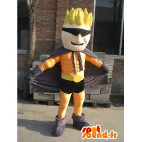 Superhero mascotte oranje en zwart masker - Man Costume - MASFR00559 - man Mascottes