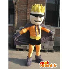 Superhero Maskottchen orange und schwarz maskierten - Kostüm Mann - MASFR00559 - Menschliche Maskottchen
