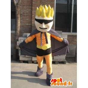 Mascotte Super héros orange et noir masqué - Costume homme - MASFR00559 - Mascottes Homme
