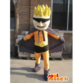 Superhero mascot orange and black mask - man Costume - MASFR00559 - Human mascots