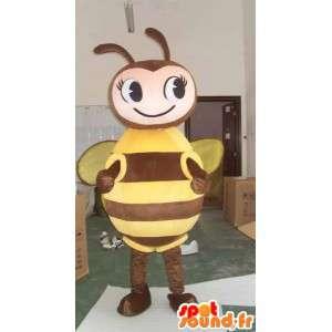 Bee Mascot marrom e amarelo - apicultor Costume