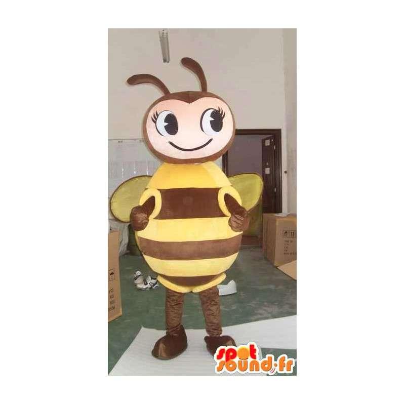 Bee Mascot marrom e amarelo - apicultor Costume - MASFR00562 - Bee Mascot