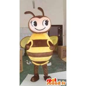 Bee-Maskottchen braun und gelb - Kostüm für Imker - MASFR00562 - Maskottchen Biene