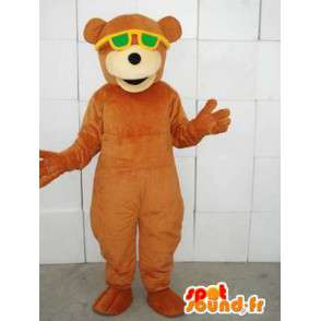 Mascotte ours marron avec lunettes vertes - Peluche en coton - MASFR00328 - Mascotte d'ours