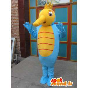 Hippokampus maskotti - Eläinten Costume ocean - keltainen ja sininen