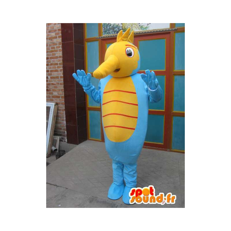 Hippocampus mascot - Costume marine animal - yellow and blue - MASFR00569 - Mascots of the ocean