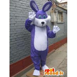 Blauw getint paars konijn mascotte - feestelijke kostuum voor 's avonds