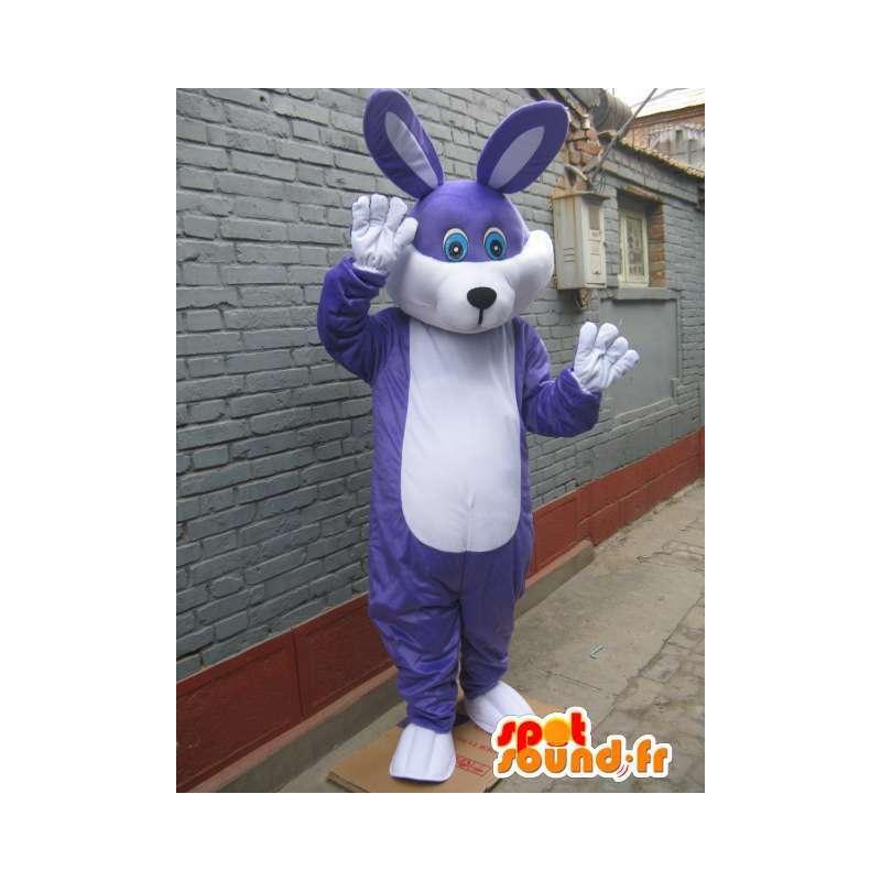 Blauw getint paars konijn mascotte - feestelijke kostuum voor 's avonds - MASFR00570 - Mascot konijnen