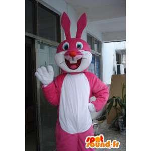 Roze en wit konijntje mascotte - feestelijke kostuum voor 's avonds