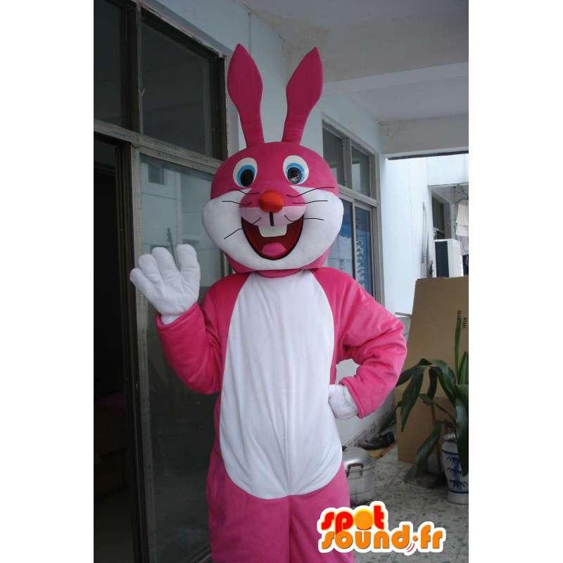 Mascot conejito rosa y blanco - Traje de noche festiva - MASFR00571 - Mascota de conejo