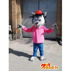 Mascotte Loup Gris - T-Shirt rose avec casquette rouge - Déguisement