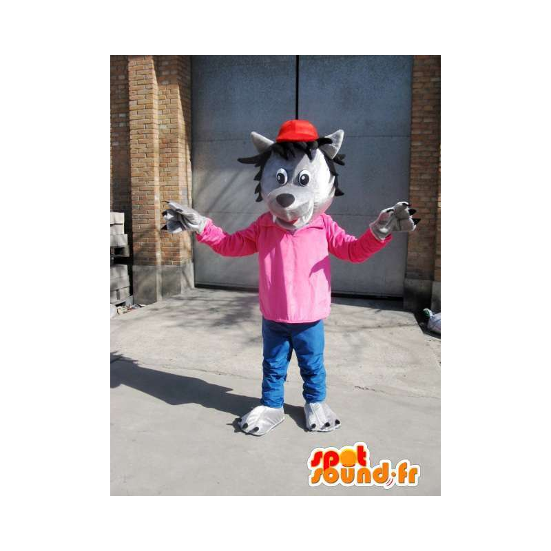 Grauer Wolf-Maskottchen - T-Shirt Pink mit roter Mütze - Disguise - MASFR00576 - Maskottchen-Wolf