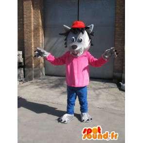 Lupo grigio Mascot - T-shirt rosa con tappo rosso - Disguise - MASFR00576 - Mascotte lupo