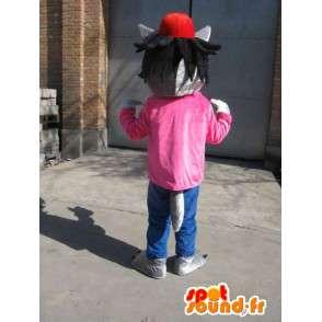 Mascotte Loup Gris - T-Shirt rose avec casquette rouge - Déguisement - MASFR00576 - Mascottes Loup