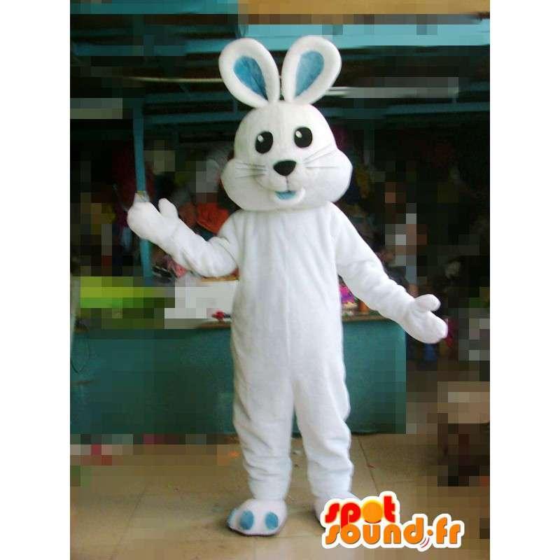 耳と青の足でマスコット白ウサギ - 変装 - MASFR00577 - マスコットのウサギ