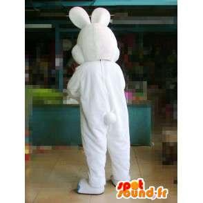 Mascotte lapin blanc avec oreilles et pieds bleus - Déguisement - MASFR00577 - Mascotte de lapins