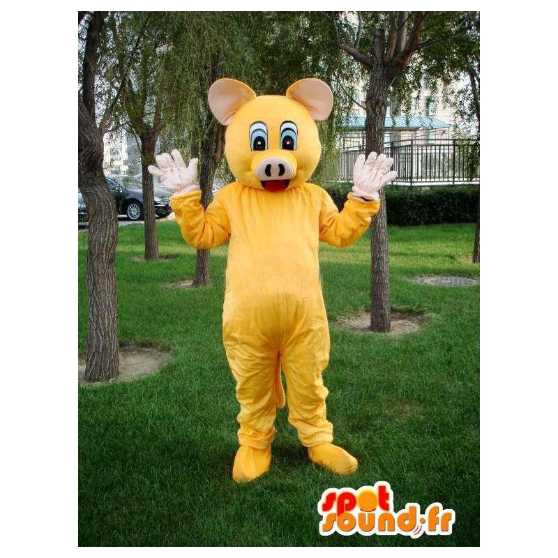 Schwein Maskottchen gelb - festliche Kostüm Metzger - Förderung - MASFR00578 - Maskottchen Schwein