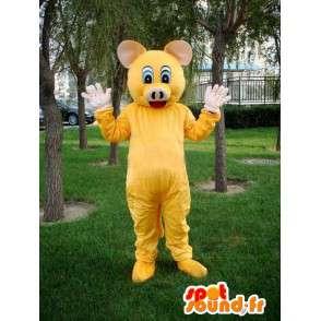 Mascotte Cochon jaune - Costume festif spécial boucher - Promotion - MASFR00578 - Mascottes Cochon