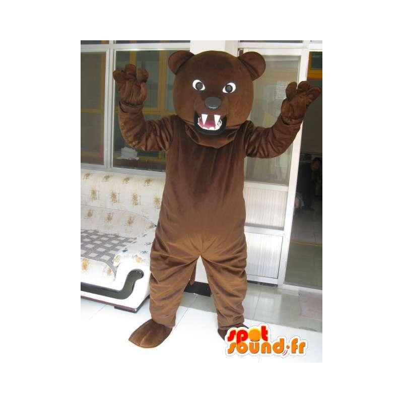 Μασκότ τεράστια καφέ αρκούδα - βελούδινα - Μεταμφίεση καφέ αρκούδα - MASFR00579 - Αρκούδα μασκότ