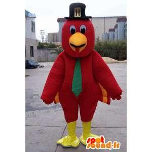 Mascotte Aigle rouge et plumes a chapeau noir et cravate verte