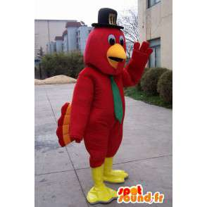Eagle Mascot rode veren en zwarte hoed en groene band - MASFR00581 - Mascot vogels