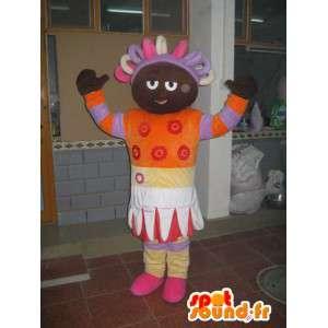 África mascota Princesa africana de color naranja y violeta