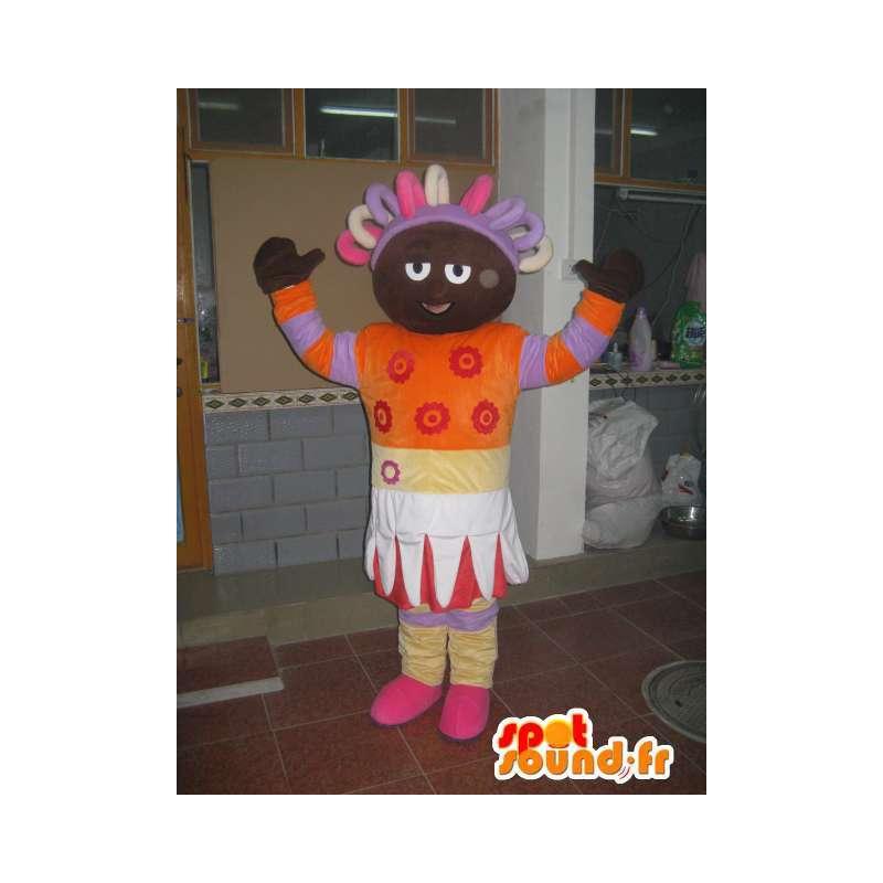 Mascotte Princesse Afro Africaine colorée orange et violette - MASFR00582 - Mascottes Fée