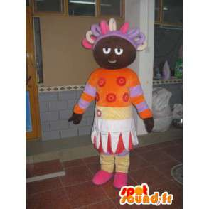 African Princess African mascot colored orange and purple - MASFR00582 - Mascots fairy