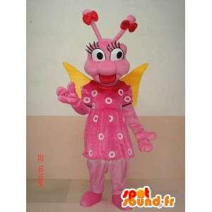 Mascot larva farfalla insetto - Rosa divertente costume