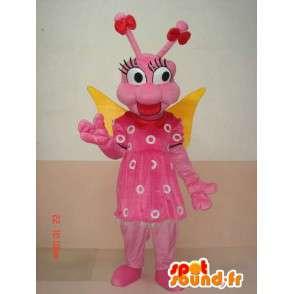 Mascot larva farfalla insetto - Rosa divertente costume - MASFR00584 - Mascotte farfalla