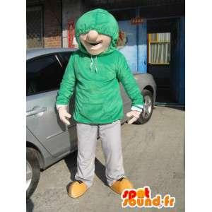 Człowiek Maskotka Street Wear - Kostium Skater Boy - Zielona bluza