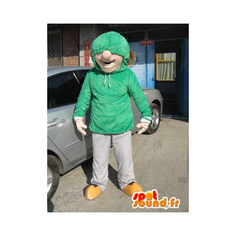 Mascotte Homme Street Wear - Costume Skater Boy - Sweat Vert - MASFR00585 - Mascottes Homme
