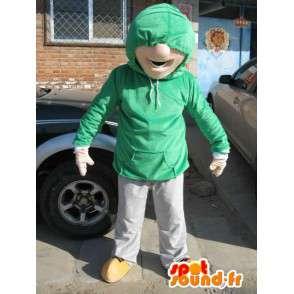 Man Mascot Straat Wear - Costume Skater Boy - Groen T-shirt - MASFR00585 - man Mascottes