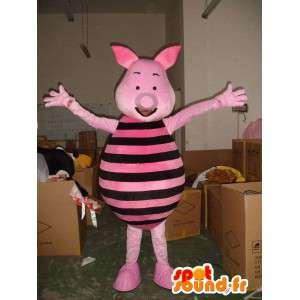 Mascot Piglet - Pig roze en zwart - vriend van Winnie de Poeh
