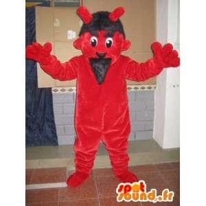 Vermelho da mascote e diabo negro - Monstro do traje para festas