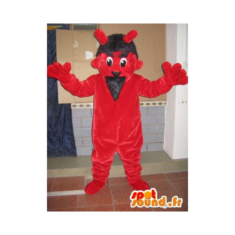 Maskotti punainen ja musta paholainen - hirviöasu festivaalien - MASFR00601 - Mascottes de monstres