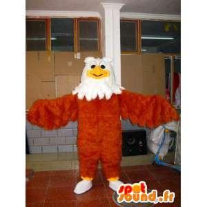 Mascotte Aigle tout en plume marron, jaune et blanc - Oiseau
