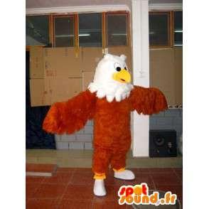 Mascotte Aigle tout en plume marron, jaune et blanc - Oiseau - MASFR00604 - Mascotte d'oiseaux