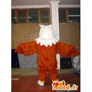 Mascot piuma d aquila mentre marrone, giallo e bianco - Bird - MASFR00604 - Mascotte degli uccelli