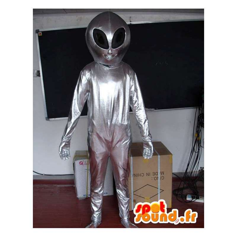Mascot Silver Alien - Extraterrestrial Costume - Avaruus - MASFR00607 - Mascottes animaux disparus
