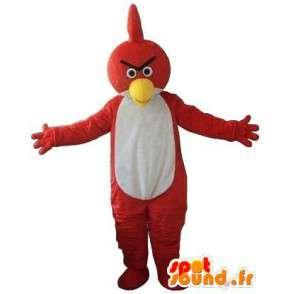 Mascot Angry Birds - Pájaro rojo y blanco - Estilo de juego águila - MASFR00608 - Mascota de aves