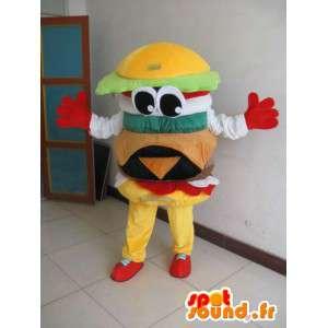 Mascot Hamburger - Yum sanduíche de hambúrguer - Entrega expressa