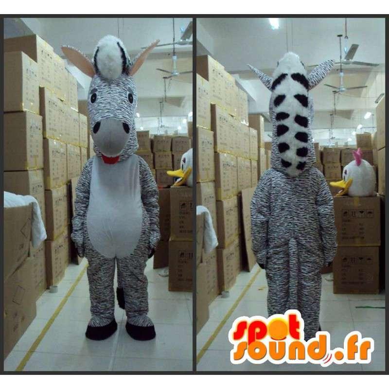 Zebra striped mascot - Animal Savannah - Costume gray tint - MASFR00615 - The jungle animals