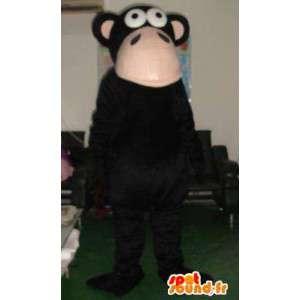 Mascotte singe macaque noir - Peluche et costume de primate