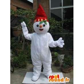 Mascot pixie rode en witte sneeuw met hoed en sjaal - MASFR00199 - Kerstmis Mascottes