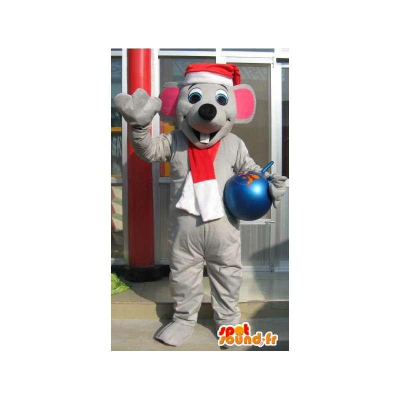 Mascot ratón gris con el sombrero de la Navidad - animales gris Traje - MASFR00620 - Mascota del ratón