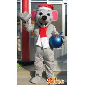 Μασκότ γκρίζο ποντίκι με χριστουγεννιάτικα καπέλο - γκρι κοστούμι των ζώων - MASFR00620 - ποντίκι μασκότ